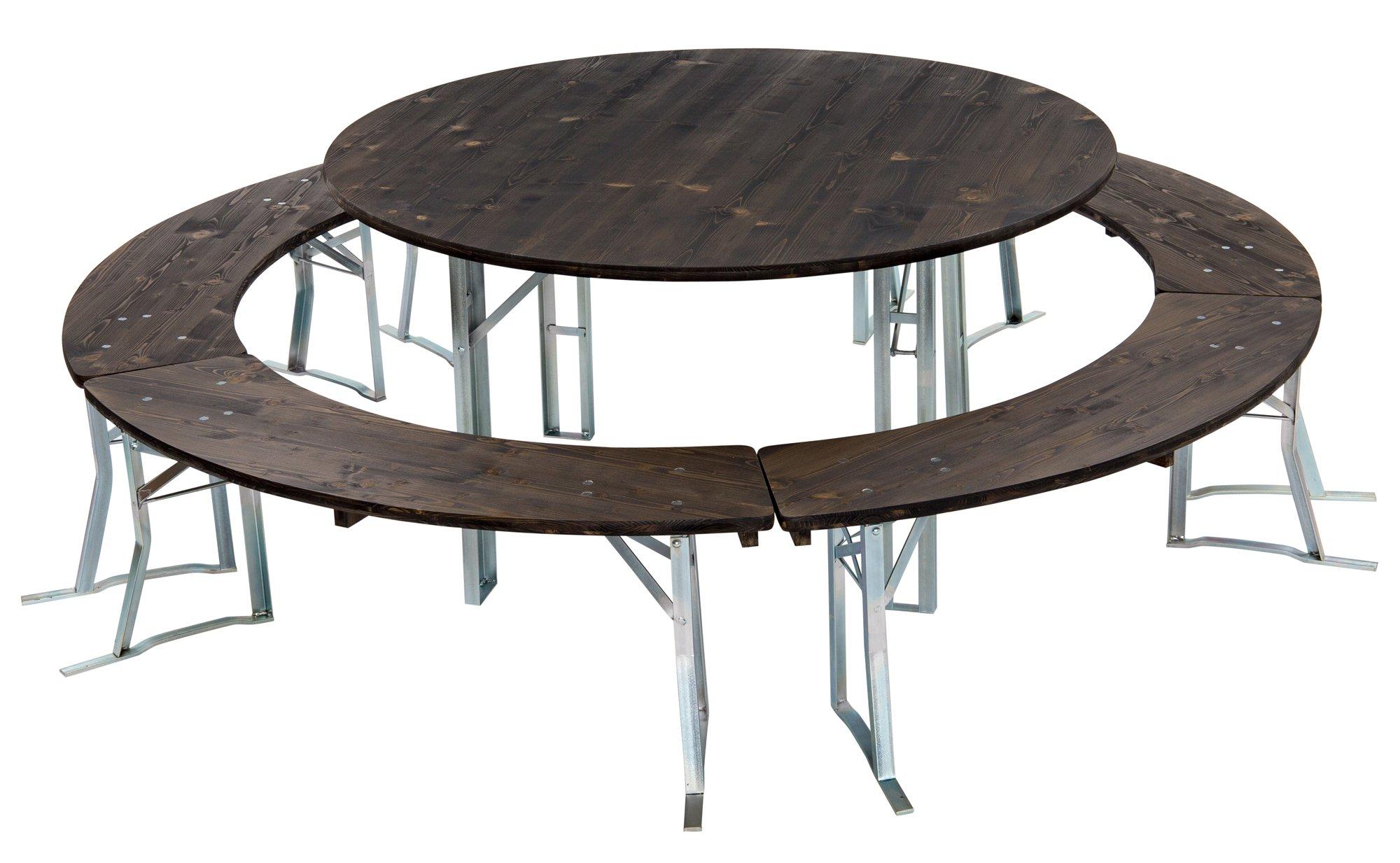 ensemble table ronde brasserie taille de la table 120 cm à 200 cm